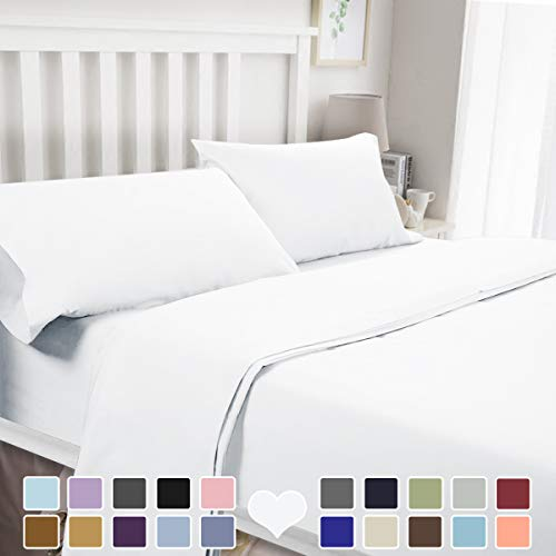BYSURE 4 Piece Luxury Bed Sheet Set(Queen, White) - Ultra Soft 1800 Thread Count Double Brushed Microfiber, Deep Pockets, Wrinkle & Fade Resistant Cooling Bedding