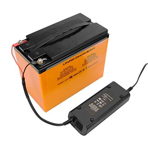 Shentec Batería LiFePO4 de 42 Ah, 12,8 V, 538 Wh, para batería de suministro de barco, caravana, cargador incluido
