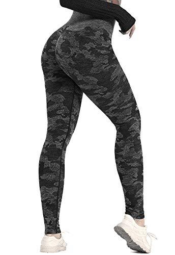 FITTOO Leggings Sin Costuras Mallas Mujer Pantalon Deportivo Alta Cintura Yoga Elásticos Seamless Negro Mediana