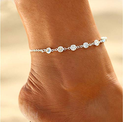 Edary Simple Crystal Anklet Silver Ankle Bracelet Fashion Foot Chain Accessories Jewelry Adjustable for Women and Girls