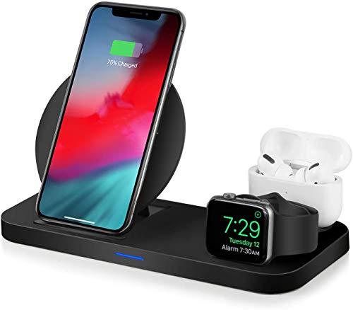 ワイヤレス充電器 iCharger 3in1 充電スタンド 最新 多機能はAirPods Apple Watch iPhone Sumsang Sonyに适用されます