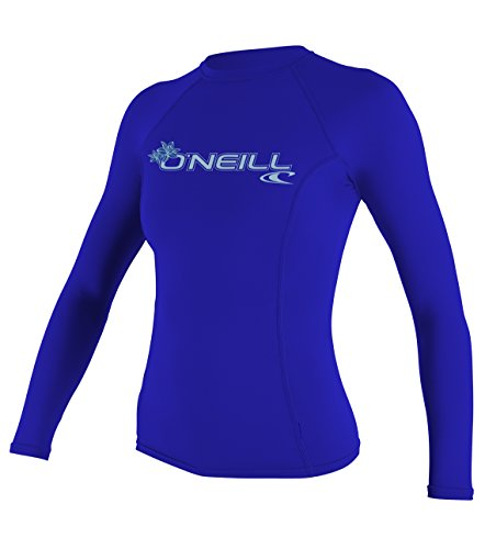 O'Neill UV 50+ Sun Protection Womens Basic Skins Long Sleeve Crew Sun Shirt Rash Guard, Tahitian Blue, Large
