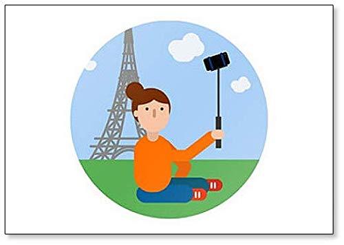 "Magnete da frigo con scritta""Traveler Girl Makes Selfie By Eiffel"""