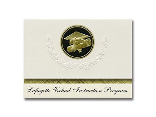 Signature Announcements Lafayette Virtual Instruction Program (Mayo, FL), Abschluss-Ankündigung, Presidential Elite Pack 25 Cap & Diplom-Siegel, Schwarz & Gold