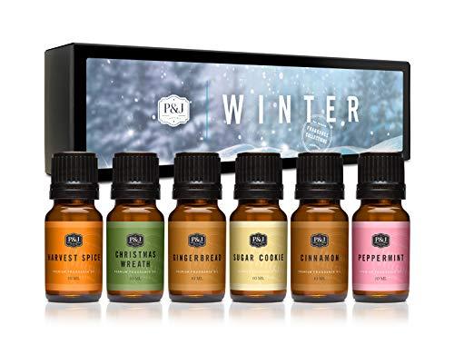 Winter-Set mit 6 hochwertigen Duftölen Zimt, Lebkuchen, Cranberry, Erntegewürze, Pfefferminze, Weihnachtskranz, 10 ml