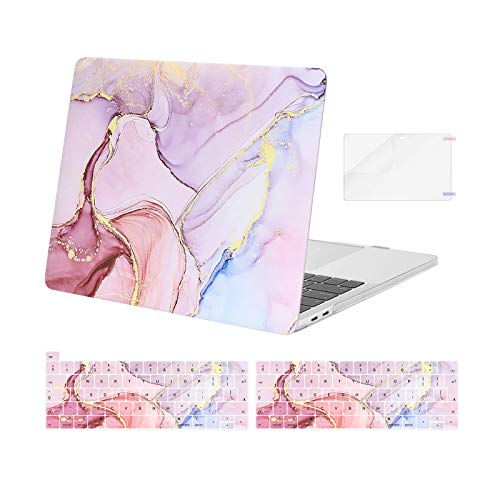 MOSISO Compatible with MacBook Pro 13 inch Case 2016-2021 Release A2338 M1 A2289 A2251 A2159 A1989 A1706 A1708, Plastic Hard Shell Case & Keyboard Cover Skin & Screen Protector, Marble MO-MBH216, Pink