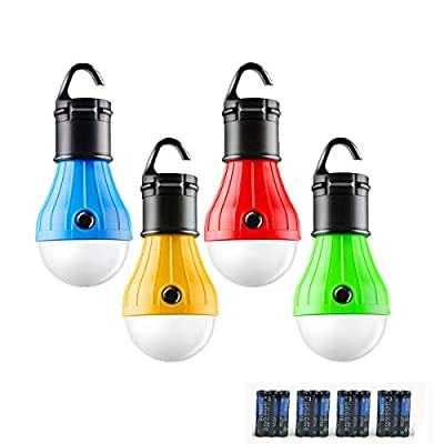 LED Camping Lantern, 4 Pack Portable Outdoor Tent Light Emergency Bulb Light for Camping, Hiking, Outage, Fishing, Outdoors & Indoors Emergency Lighting, Battery Powered(Include)