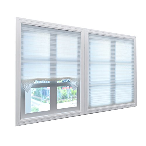 BOBOTOGO White Pleated Shades Pleated Blinds Cordless Pleated Light Filtering Fabric Shade White, 36 in x 72 in, 3 Pack (Fits Windows 18' - 36')