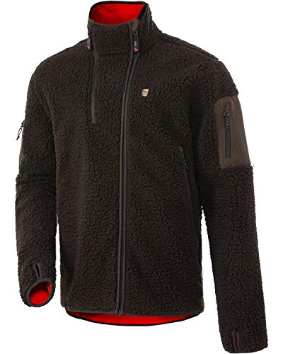 PARFORCE Windblock-Faserpelz-Fleecejacke Ultimate Oliv/Rubinrot 3XL