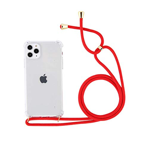 LIUYAWEI Estuche para teléfono con cordón, Collar de Cadena y cordón de Color sólido para iPhone 11 Pro X XR XS MAX 7 8 Plus Estuche Trasero Transparente Suave para Llevar, DR, para iPhone X
