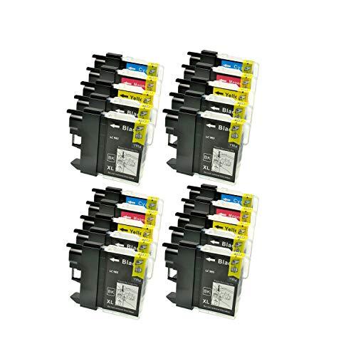Logic-Seek 20 Tintenpatronen (Druckerpatronen) für Brother DCP J 125 LC 985 LC985, 8xbk je 23ml, 4X c,4X y, 4X m je 15ml, kompatibel