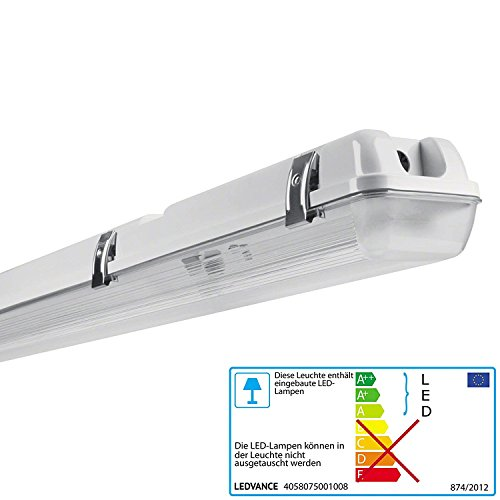 Ledvance IP65-Schutzklasse Led Feuchtraumleuchte, für Außenanwendungen, Gehäuse aus Polycarbonat für 2 Led Röhren