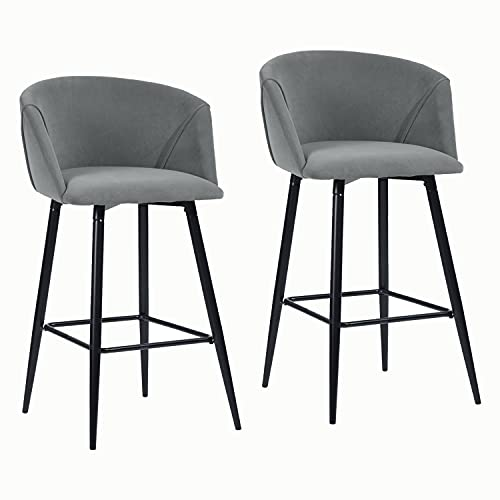 FurnitureR Conjunto de 2 sillas de Bar de Cocina para Interiores con Brazos, taburetes de Respaldo Alto con Asiento tapizado y Patas de Metal Gris Helado