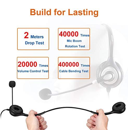 Arama Headset Handy mit Noise Cancelling-Mikrofon und Inline-Bedienelementen 3,5mm Klinke PC Headset für iPhone Samsung Und andere Android-Handys Tablet All Center Skype