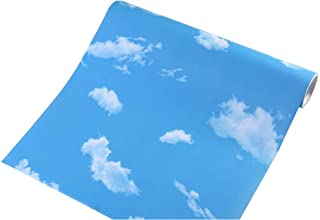 Teemall Blue Sky White Clouds Decorative Vinyl Self Adhesive Shelf Drawer Liner Home Decor Wallpaper 24x79 Inch