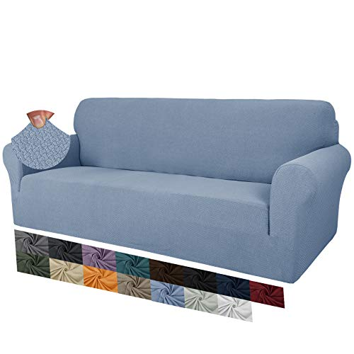 MAXIJIN - Fundas de sofá para sofá de 3 o 4 plazas, superelásticas antideslizantes para perros, fundas protectoras de muebles (4 plazas, color azul claro)