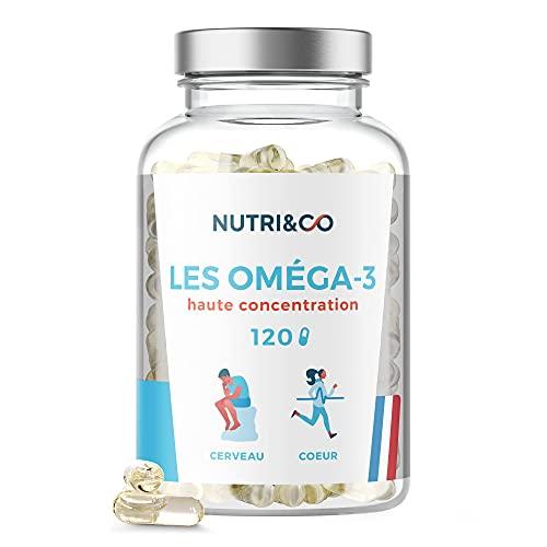 Omega 3 Huile de Poissons Sauvages 2000mg | Fish Oil Concentrée Ultra Pure | 120 Gélules | EPA DHA et Vitamine E | Capsules Licaps® Haute Fraîcheur | Pêche Durable | Made in France | Nutri&Co