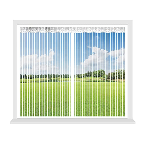 GAIJUAN Fly Screen 150x150cm(59x59inch) Seal Automatically Mesh Window Curtains Adjustable for Air Conditioner Room Window, White
