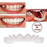 ZXCASD 5 Pair Cosmetic Teeth Temporary Smile Comfort Fit Flex Denture Teeth Veneer Simulated Braces Upper Braces + Lower Braces One Size Fits Most