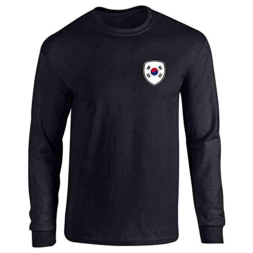 South Korea Soccer Retro National Team Costume Black L Full Long Sleeve Tee T-Shirt
