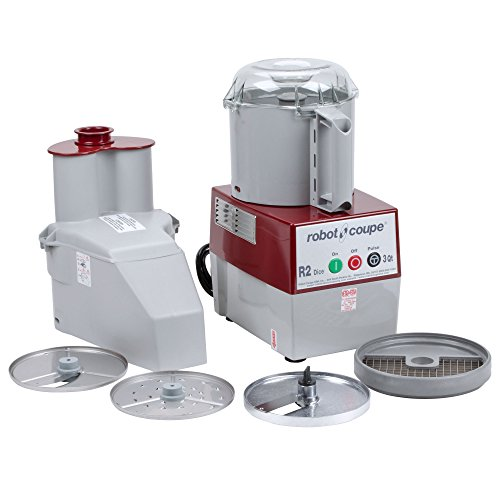 Robot Coupe R2 Dice Continuous Feed Combination Food Processor Dicer with 3-Quart Polycarbonate Bowl, Gray, 120-Volts