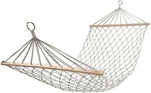 MCE Silla de Hamaca Swing Extra Large Cuerda Colgante Hamaca con Palo de Madera para Uso en al Aire Libre Interior algodón Beige (Color : White, Size : 200x80cm)