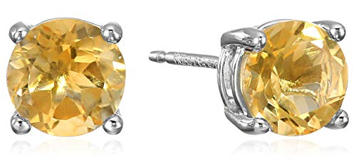 Amazon Essentials Sterling Silver Round Citrine Birthstone Stud Earrings (November)