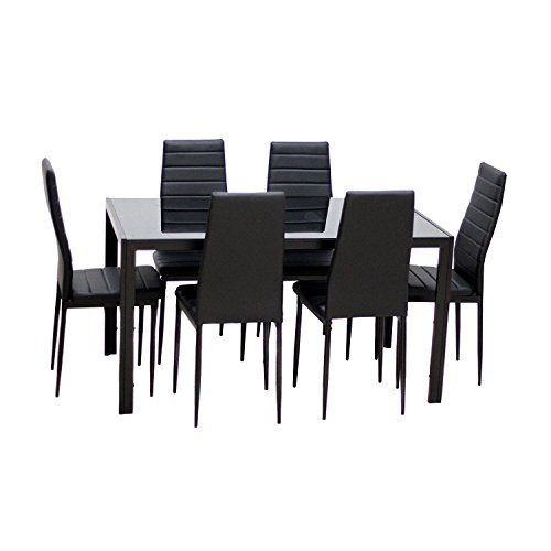 IDS Home 7 Piece Glass Top Dining Set for 6 Kitchen Table and Chairs Set Home Furniture Dinette Set Rectangular Table, Black