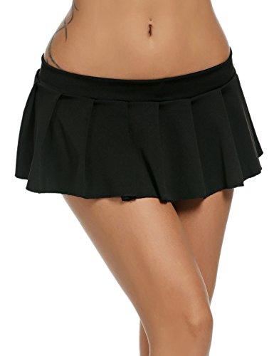 Avidlove Mini Rock Schulmädchen Skirt Damen Kurz Minirock Röcke Frauen Sexy Dessous Solid gefaltet Nachtwäsche Reizvolle, Schwarz, S