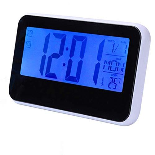 Reloj de la noche, reloj de alarma ajustable Control de voz LCD LCD LCD Reloj de alarma Monitor de tiempo Calendario Decoración de la mesa de escritorio Reloj con temperatura del sensor de sonido del