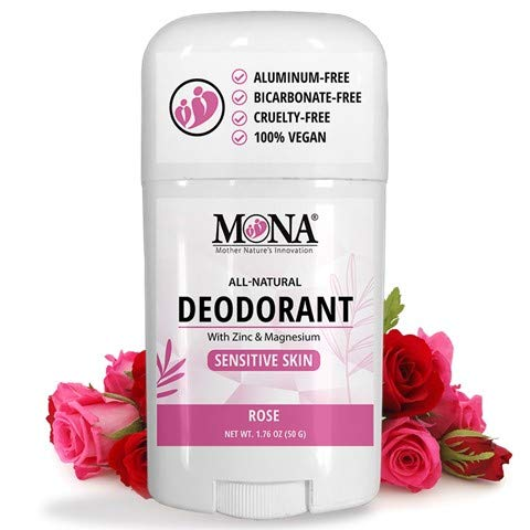MONA BRANDS All Natural Deodorant for Sensitive Skin | Baking Soda free, Aluminum free, with Magnesium & Zinc | For Women, Men & Teens | Plant-based, Vegan, Non-GMO, Gluten & Cruelty free | ROSE