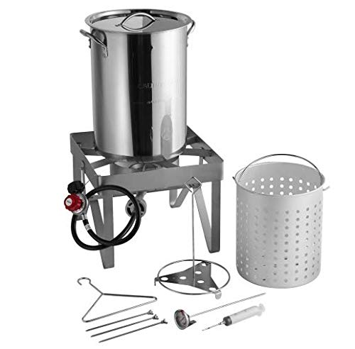 "Backyard Pro All-in-One Kit All Stainless Steel 30Qt. Turkey Fryer Kit/Steamer Kit - 55,000 BTU/Outdoor Propane Fry Kit Cooking + 12"" Probe Thermometer + 3-Piece Skewer Set + 1 oz. Marinade Injector"