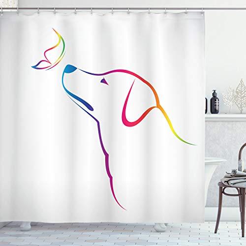 ABAKUHAUS Bunt Duschvorhang, Schmetterlings-H& Labrador, mit 12 Ringe Set Wasserdicht Stielvoll Modern Farbfest & Schimmel Resistent, 175x180 cm, Mehrfarbig