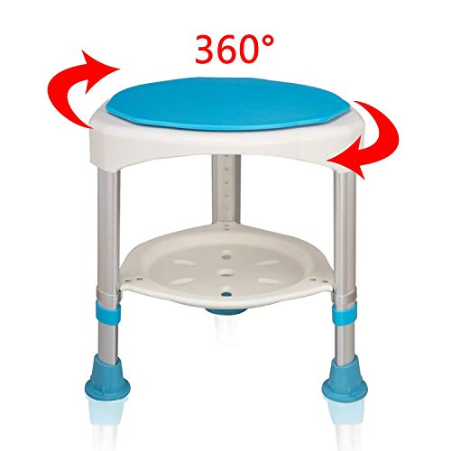 UISEBRT Duschhocker Badhocker Höhenverstellbar 360°Drehbarer 200kg - Duschstuhl Duschhilfe Duschsitz Badsitz (Duschhocker Höhenverstellbar 360°Drehbarer - 1)