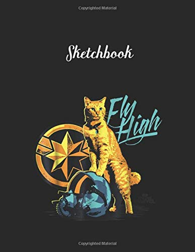 Sketchbook: Captain Marvel Symbol Goose Fly High Graphic Unlined Pages Sketchbook White Paper Blank Journal with Black Cover Marble Large Size 8.5in x ... 115 pages for Kids or Men and Women Cute Cat
