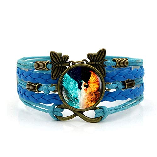 Woven Bracelet,Blue Rope Ice Fire Phoenix Animal,Time Gemstone Bracelet Multi-Layer Hand-Woven Glass Combination Jewelry Ladies Fashion European And American Style Jewelry Jewellery