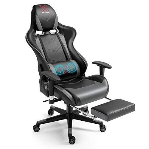 X-VOLSPORT Ergonomic Gaming/Office High Back Chair with Footrest, Racing Style PU Leather, Headrest, and Lumbar Massage Grey
