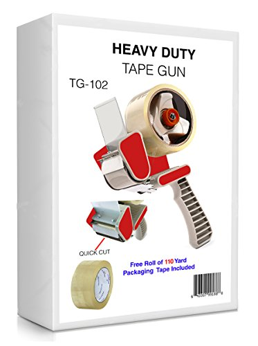 Packing Tape Dispenser Gun - Plus 1 Free Roll of Packaging Tape 110, Yards (330 FT) - Best Side Loading 2 Inch Lightweight Ergonomic Industrial Gun for Shipping, Moving, Carton and Box Sealing TG-101