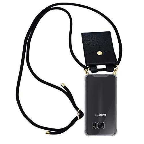 Cadorabo Handy Kette für Samsung Galaxy S7 Edge in SCHWARZ – Silikon Necklace Umhänge Hülle mit Gold Ringen, Kordel Band Schnur und abnehmbarem Etui – Schutzhülle