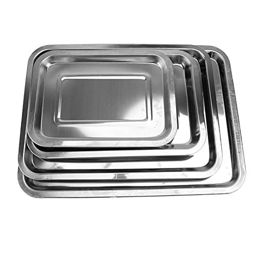 DOITOOL 4pcs Baking Sheet Set Stainless Steel Baking Trays Cookie Pans Toaster Oven Tray Pans