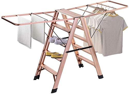 Tendedero de Ropa, Tendedero de Ropa Plegable, Tendedero de Ropa Escalera de Espiga Estante de Secado Dormitorio de 5 escalones Balcón Plegable para el hogar Perchero de Ropa de al