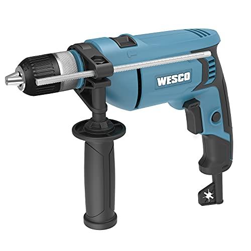 Schlagbohrmaschine, WESCO 750W Hammer und Bohrer 2 in 1 Bohrmaschine, 3000 RPM, 3mm Auto-Lock-Bohrfutter, Maximaler Bohrdurchmesser in Stahl 13mm, in Beton 16mm, in Holz 30mm, WS3174