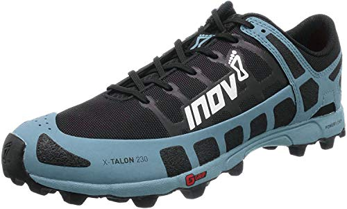 Inov-8 sapato masculino X-Talon 230 – tênis de corrida leve OCR Trail – para esportes, corridas de obstáculo e corrida de lama, Black/Blue Grey, 7 Wide