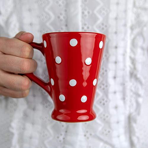 City to Cottage Tazza da Caffellatte, Caffè Americano e Tè con Ampio Manico   Realizzata e Dipinta a Mano in Ceramica   Fantasia con Puntini a Pois Rosso e Bianco   Idea Regalo