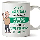 MUGFFINS Taza Abuelo - Esta Taza Pertenece al Mejor Abuelo del Universo - Taza Desayuno/Idea Regalo Original/Día del Padre para Abuelitos. Cerámica 350 mL