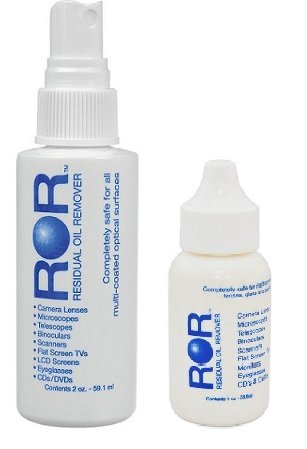 ROR Optical Lens Cleaner 2 oz Spray Bottle and 1 oz Dropper Bottle