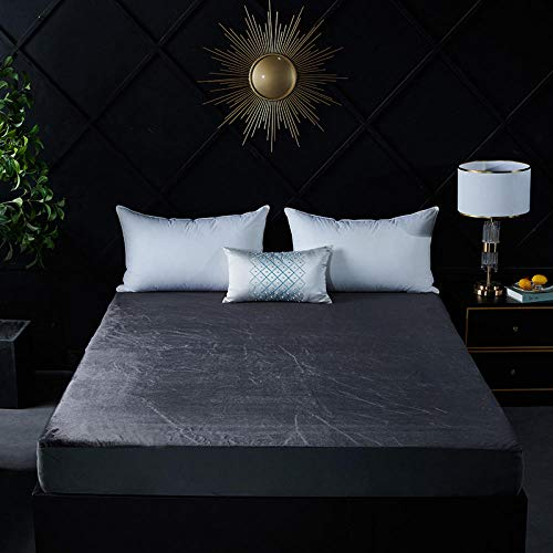 ChileYile Fitted Sheets Shrinkage and Fade Resistant,Flannel Waterproof Sheet Bed Cover Solid Color and Pattern Suitable for Bedroom Guest Room-Darkgray120*200cm