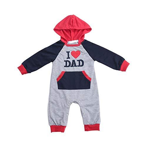 Baby-outfit-set Ik hou van mama/papa druk met lange mouwen 0-5Y Rainbow Design Dynamische Maak uw kinderen aantrekkelijk Red, 80cm