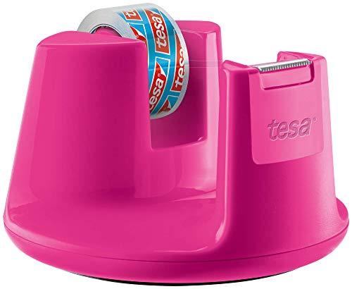 tesafilm Tischabroller Compact - Klebebandspender mit Anti-Rutsch-Boden für sicheren Halt - Mit transparenter Kleberolle 10 m x 15 mm - Pink