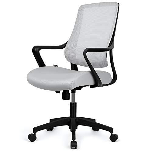 Besit Bürostuhl ergonomisch, Schreibtischstuhl, Atmungsaktiver Bürodrehstuhl, Wippfunktion, Verdicktes Sitzkissen, Office Chair Höhenverstellbar, belastbar bis 110 KG, Grau